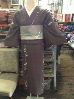 画像1: 古代紫脇に秋草の絽着物